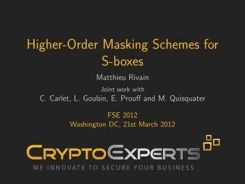 Higher-Order Masking Schemes for S-boxes - FSE 2012