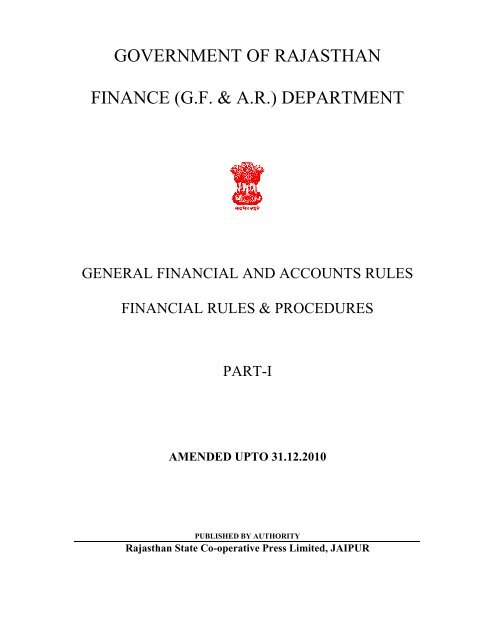 government of rajasthan finance (gf & ar) department - Rsrdc com