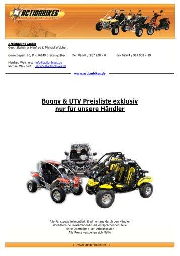 Buggy & UTV Preisliste exklusiv nur für unsere Händler - Actionbikes