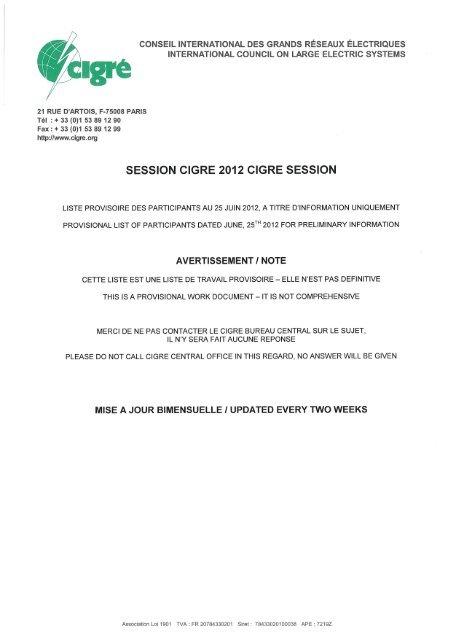 Session Cigre 2012 Cigre Session Page Daccueil Cigre