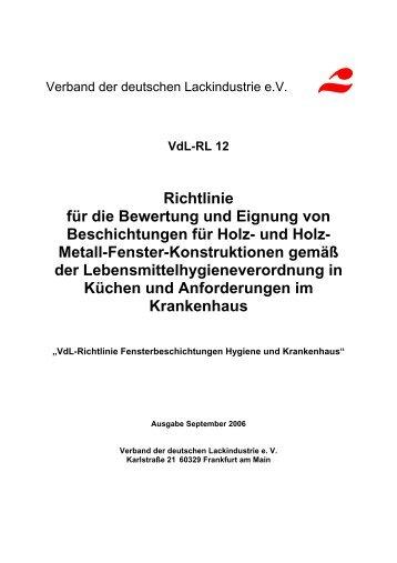 VdL-Richtlinie 12 Fensterbeschichtungen Hygiene und Krankenhaus