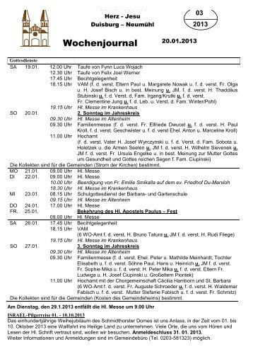 Wochenjournal Nr. 3 für So, 20.01.20113 - Herz-Jesu