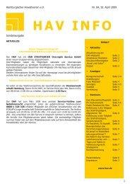 haV Info aktuell Faxanmeldung