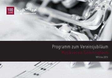 Programm zum Vereinsjubiläum Musikverein Gemmrigheim