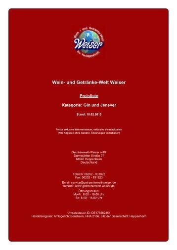 Preisliste für Kategorie: Gin und Jenever - und Getränke-Welt Weiser