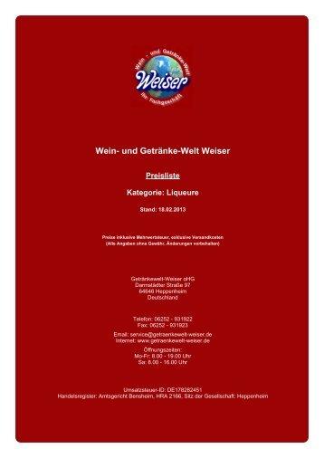 Preisliste für Kategorie: Liqueure - und Getränke-Welt Weiser