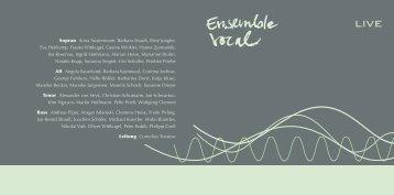 Booklet - Ensemble vocal