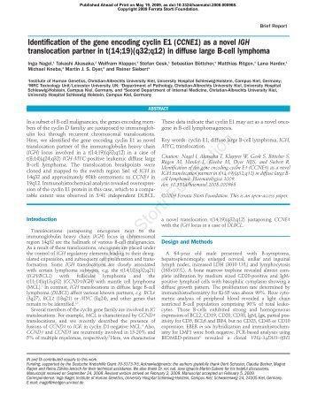 Identification of the gene encoding cyclin E1 (CCNE1) as a novel ...