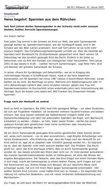 Heiss begehrt: Spermien aus dem Röhrchen - maennerarzt.ch