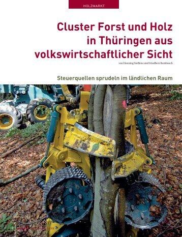 Cluster Forst und Holz in Thüringen aus volkswirtschaftlicher Sicht