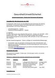 Gesundheit/Umwelt/Sicherheit - Galvaswiss AG