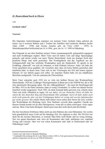 O, Deutschland hoch in Ehren - Prof. Dr. iur. Menno Aden