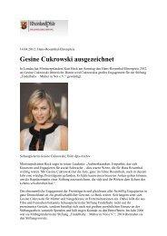 Gesine Cukrowski ausgezeichnet - Sandra Paule PR-Management