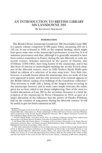 an introduction to british library ms lansdowne 380 - AR Editions, Inc.