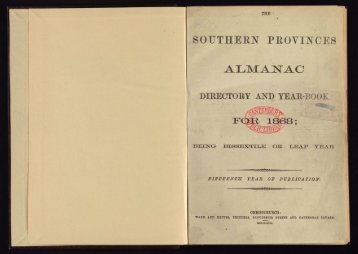Southern Provinces Almanac, 1868 - Christchurch City Libraries