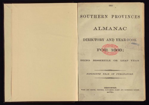 Southern Provinces Almanac, 1868 - Christchurch City Libraries