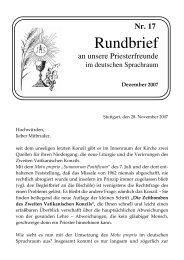 Priesterrundbrief Nr. 17 - Aktion alte Messe