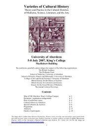 Varieties of Cultural History - University of Aberdeen