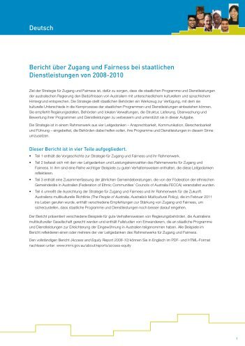 German translation of the Access and Equity in Government ...