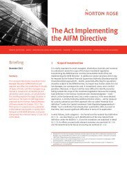 The Act Implementing the AIFM Directive - Norton Rose