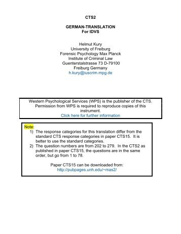 CTS2 GERMAN-TRANSLATION For IDVS Helmut Kury ... - UNH IT