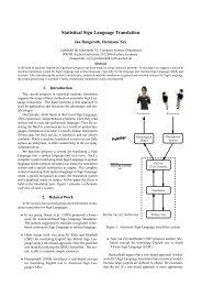 Statistical Sign Language Translation - CiteSeerX