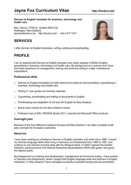 CV for Jayne Fox - German to English Translation Overnight