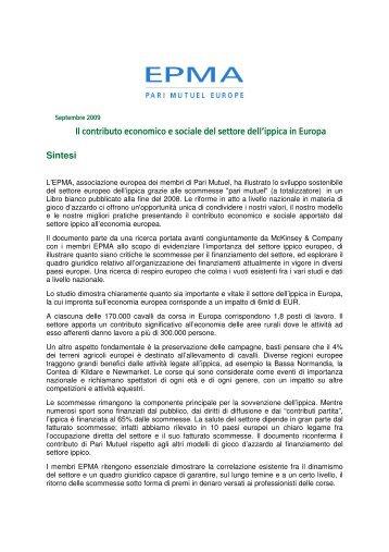 Il contributo economico e sociale del settore dell - Parimutuel ...