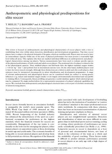 Anthropometric and physiological predispositions for elite soccer