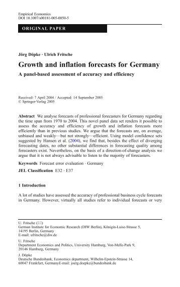 Growth and inflation forecasts for Germany - Ulrich Fritsche