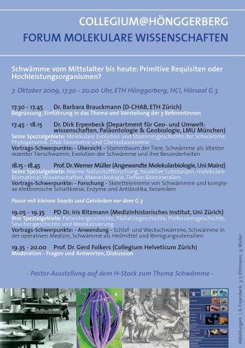 Programm - Collegium Helveticum - ETH Zürich