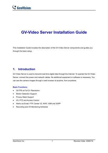 Instrukcja GV-Video Server - GeoVision