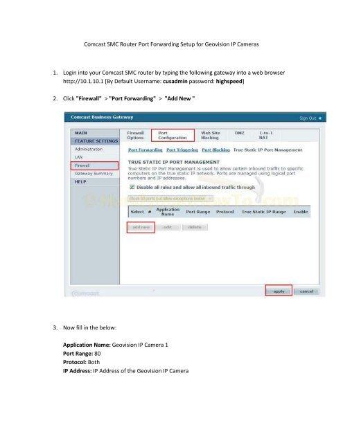 Comcast SMC Router Port Forwarding Setup for Geovision IP