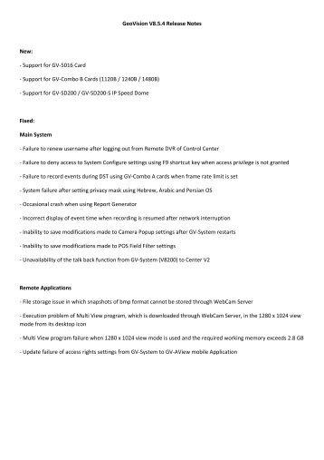 GeoVision V8.5.4 Release Notes New: - Support for GV ... - Ezcctv