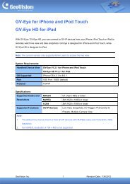 GV-Eye for iPhone and iPod Touch GV-Eye HD for iPad - GeoVision