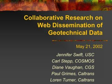Collaborative Research on Web Dissemination of Geotechnical Data