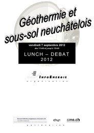 Géothermie et sous-sol neuchâtelois - Canton de Neuchâtel