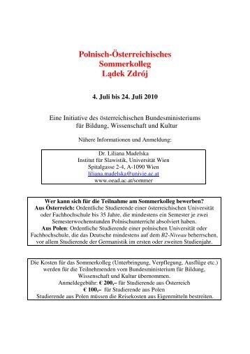 Polnisch-Österreichisches Sommerkolleg Lądek Zdrój - Universität Wien