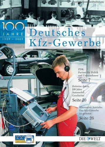 """Jubiläums-Beilage """"Die Welt"""" - KFZ Gewerbe"""