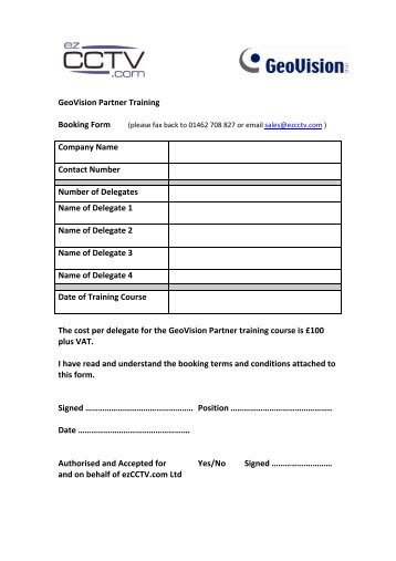 GeoVision Partner Training Booking Form Company Name ... - Ezcctv
