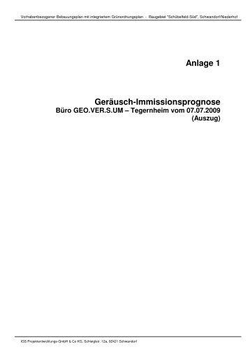 Anlage 1 Geräusch-Immissionsprognose - Stadt Schwandorf