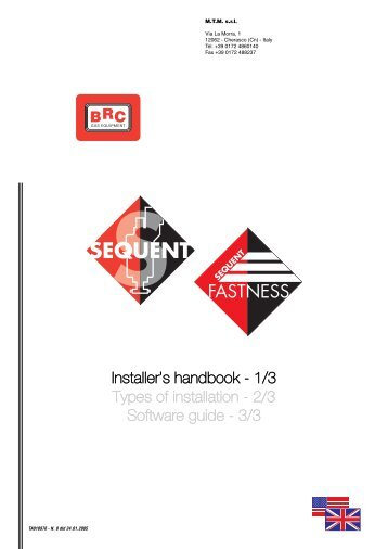 Installer's handbook - 1/3 Types of installation - 2/3 Software guide ...